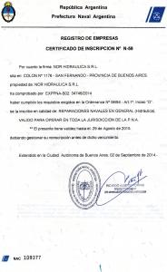 Certificación de la Prefectura Naval Argentina